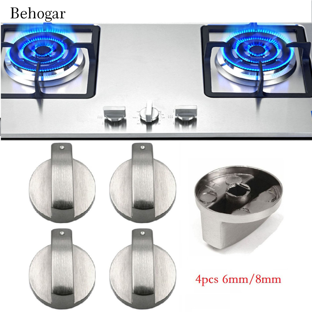 Behogar 4 PCS 6mm/8mm Metal Silver Gas Stove Cooker Knobs Adaptors Oven Switch Cooking Surface Control Locks Cookware Parts