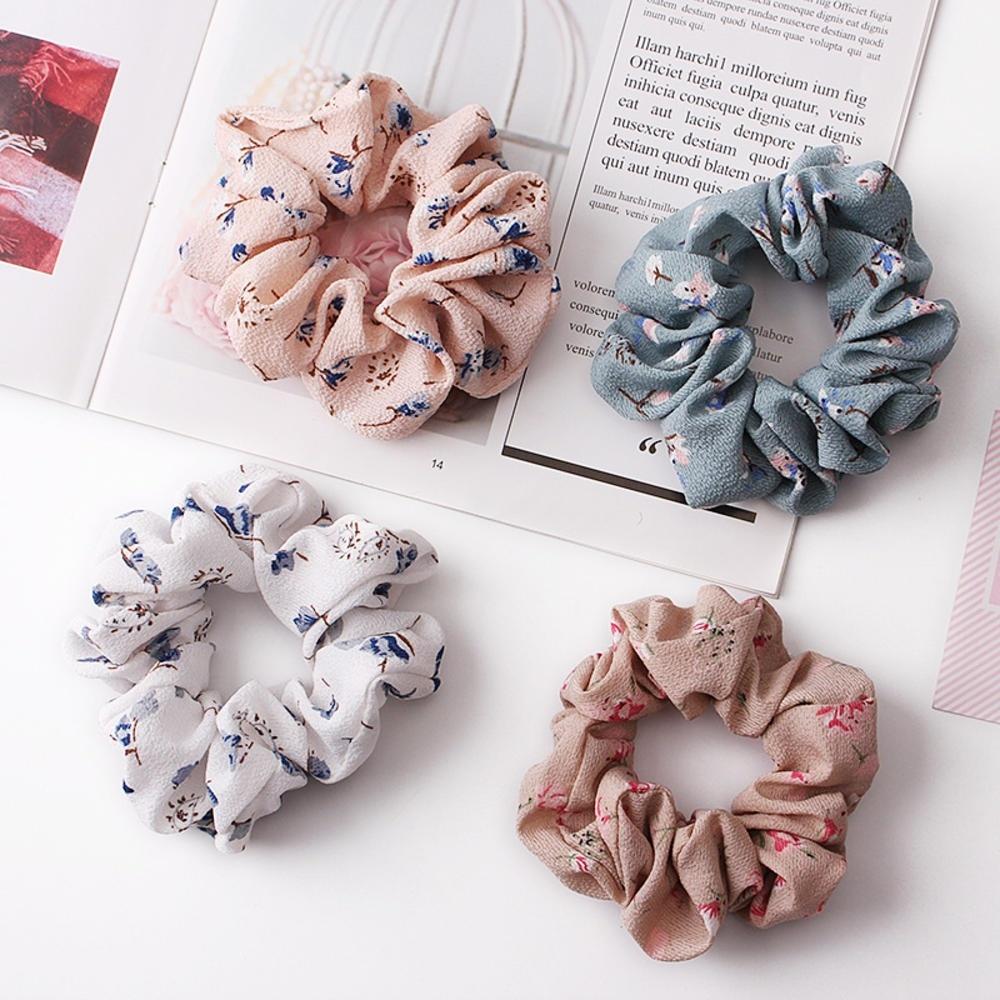 4 Colors Chiffon Floral Printed Ribbon Bowknot Hair Scrunchies For Women Elastic Hair Bands Fashion Hair Rope