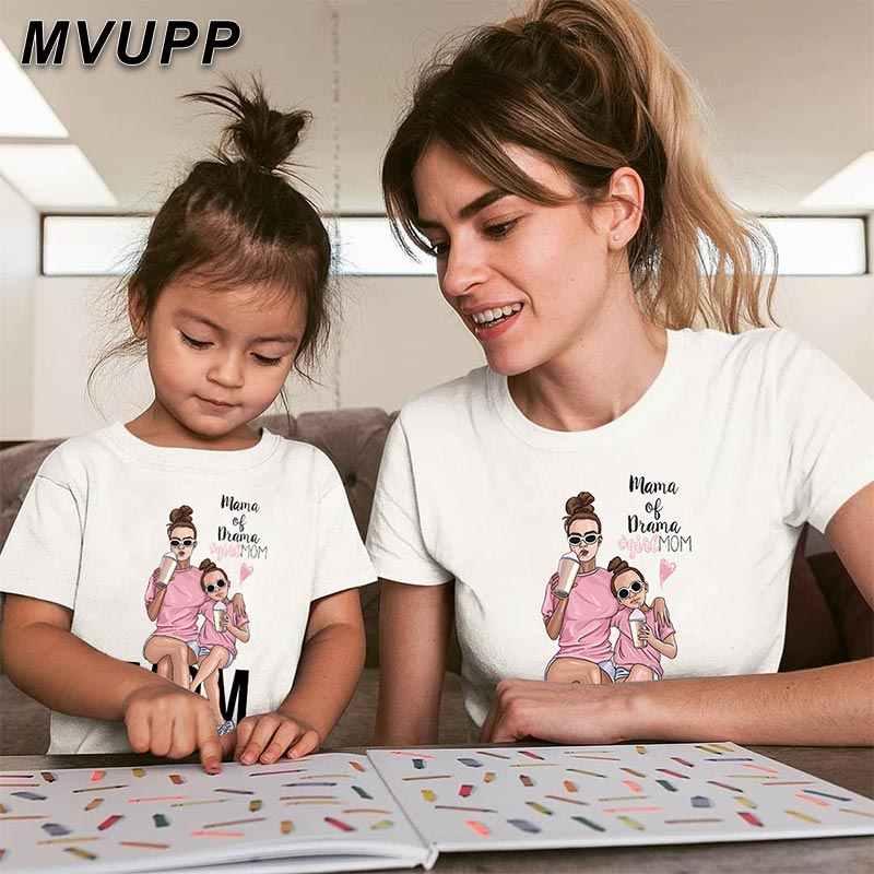 MVUPP แม่ลูกสาวการจับคู่เสื้อผ้า mommy และ Me ชุดแม่สาวครอบครัว T เสื้อ LOOK สำหรับแม่เด็ก Mama เด็กเสื้อผ้าการ์ตูน