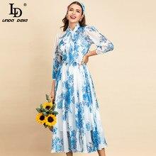 Chiffon-Dress Lantern-Sleeve LINDA DELLA Runway Floral-Print Elegant Summer Fashion Women