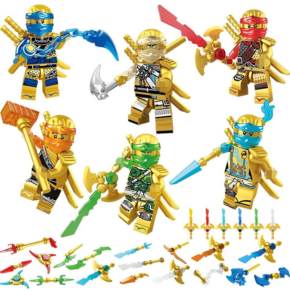 Nova 6 pçs/set Ouro Ninjagoed Figuras Tijolos do brinquedo de Blocos de Construção Compatíveis com Legoinglys Educação Brinquedos para As Crianças