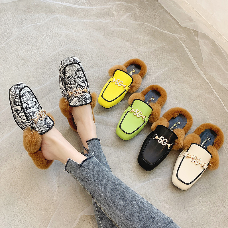 Shoes Woman 2019 Slippers Fur Cover Toe Candy Colors Glitter Slides Fashion Mules Women Low Plush Jelly Square Flat Luxury 42