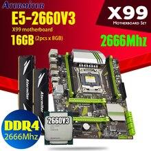 atermiter X99 motherboard CPU processor RAM set with Xeon E5 2660 V3 2pcs * 8GB = 16GB heat sink 2666MHz REG ECC DDR4 memory PC4