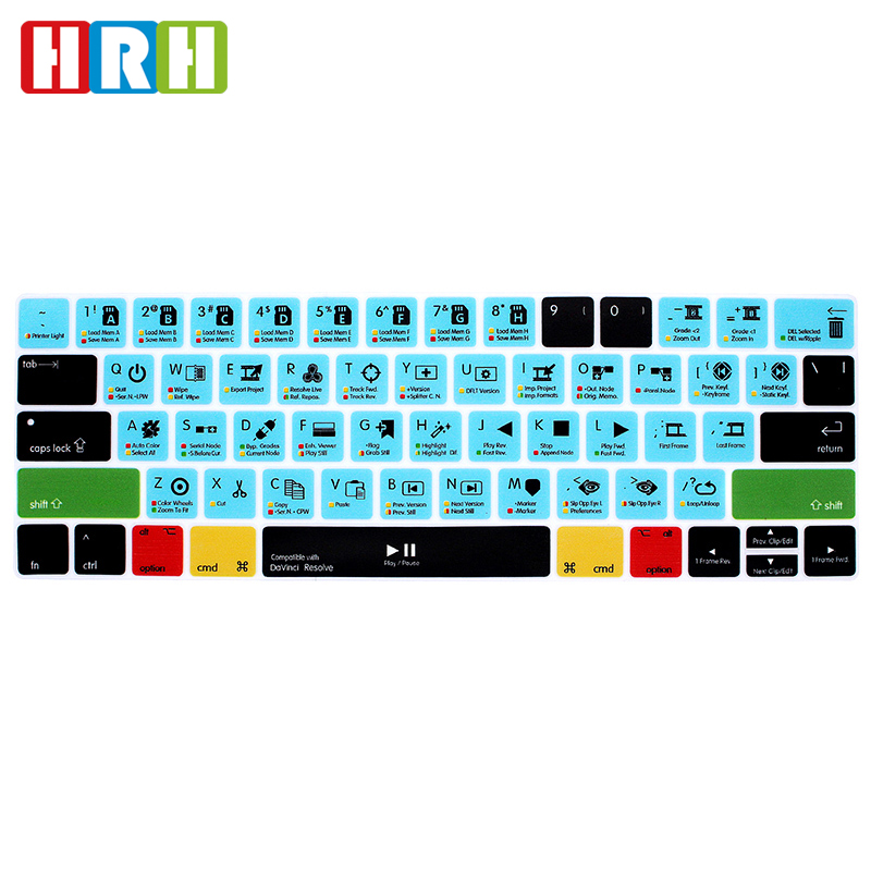 HRH DaVinci Resolve Hot Key Function Shortcuts Silicone Keyboard Cover For Macbook Pro 13