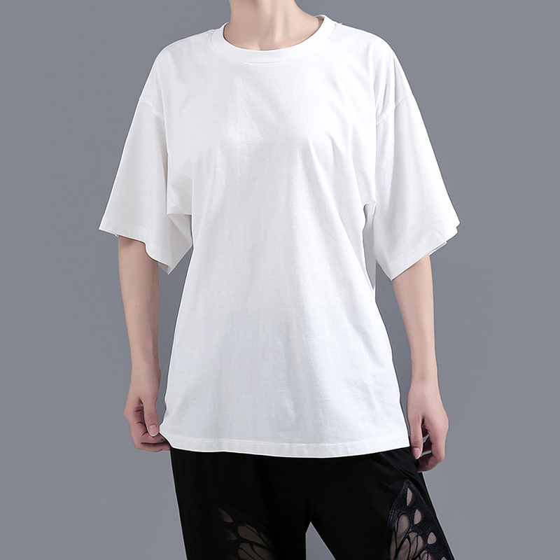 [EAM] Women White Back Hollow Out Temperament T-shirt New Round Neck Half Sleeve  Fashion Tide  Spring Summer 2020 1Y729 5