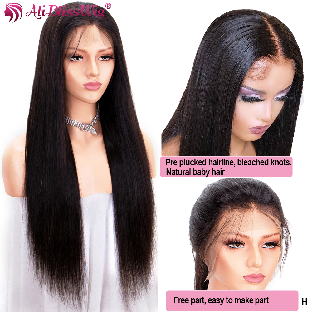 360 Lace Frontal Wigs Pre Plucked With Baby Hair Around Straight Human Hair Wigs Women 370 Lace Frontal Wigs Deep Part Remy 150%