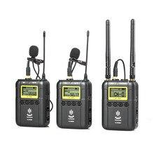 المهنية اللاسلكية تسجيل الفيديو Lavalier التلبيب ميكروفون ميكروفون نظام لكانون نيكون سوني DSLR كاميرا