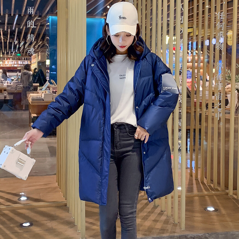 2019 Back Season Long Armband   Down   Jackets Girls Long Fund Thickening Easy East Gate Overknee Loose   Coat