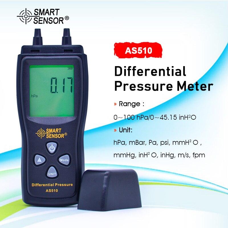 SMART SENSOR AS510 LCD Air Manometer Pressure Gauge Mini Pressure Differential Meter Digital Pressure Manometer 0~100hPa
