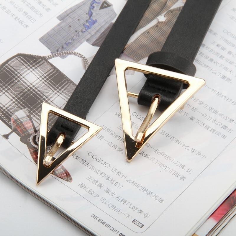 New Cowskin&PU Women Belt Gold Triangle Alloy Buckle Waistband Black Casual Female Thin Designer Waist Strap Cinturon Vaquero