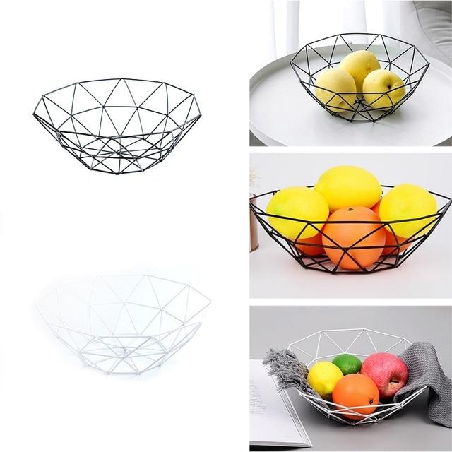 Kitchen Basket Container Bowl Metal Wire Basket Kitchen Drain Rack Fruit Vegetable Storage Holder Snack Tray Storage Bowl 3