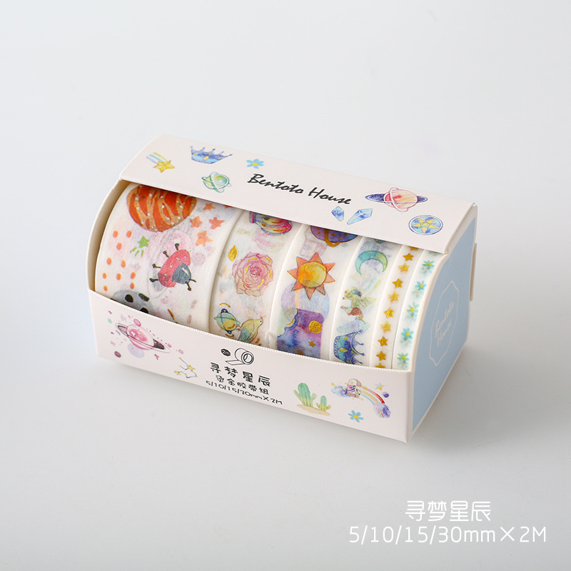 6 Rolls/Box Cute Dream Starry Planets Golden Stamp Masking Washi Tape Hand Account Notebook Computer Decor