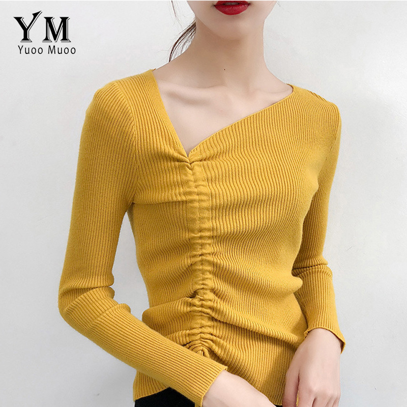 YuooMuoo Irregular Neck Korean Style Women Sweater 2019 Designer Drawstring Fall Pullover Women Streetwear Tops  Knitwear Jumper