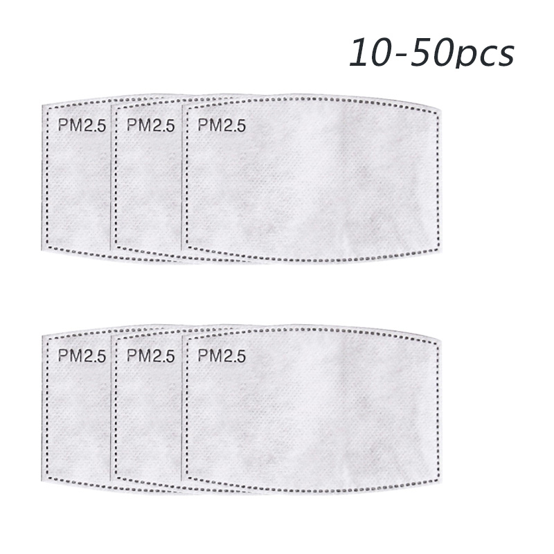 50pcs/lot Mask Filter Pm2.5 Paper Anti Haze Mouth Mask Filter Insert Protective Filter Insert For Dust Mask