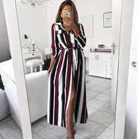 2019 new fashion ladies elegant dress striped belt long dress female lapel long sleeve color striped long dress beach dress
