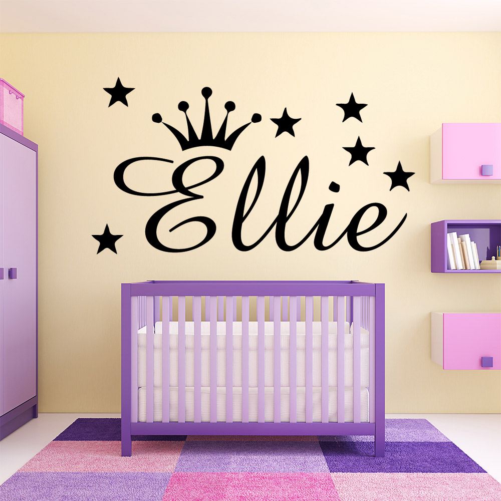 Personalized Crown Custom Name Wall Stickers For Kids Rooms Decoration sticker Babys name on the wall vinyl Stickers Murals
