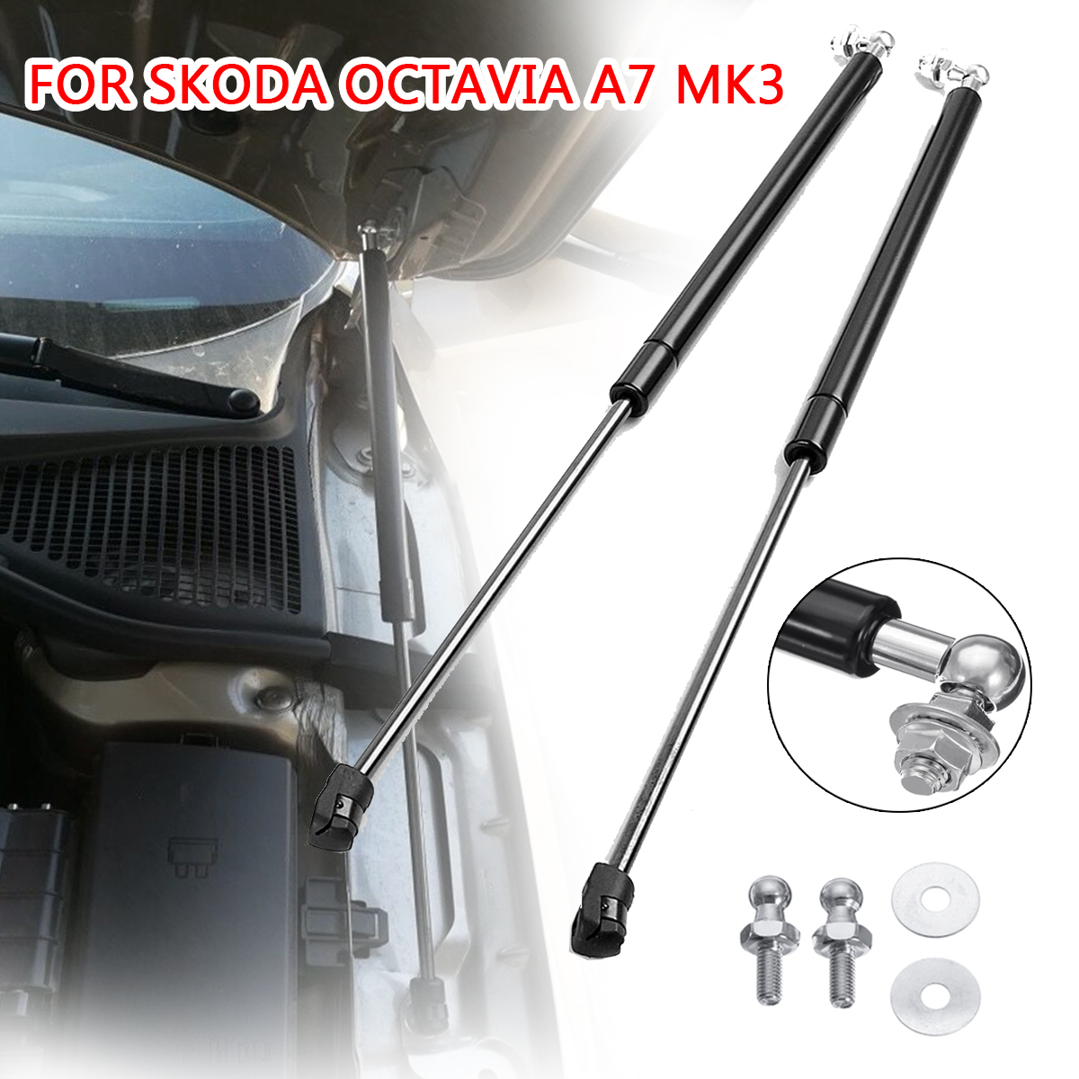 2Pcs Car Gas Shock Hood Shock Strut Damper Lift Support for Skoda Octavia A7 MK3 Stainless Steel Hydraulic Rod Car Accessories