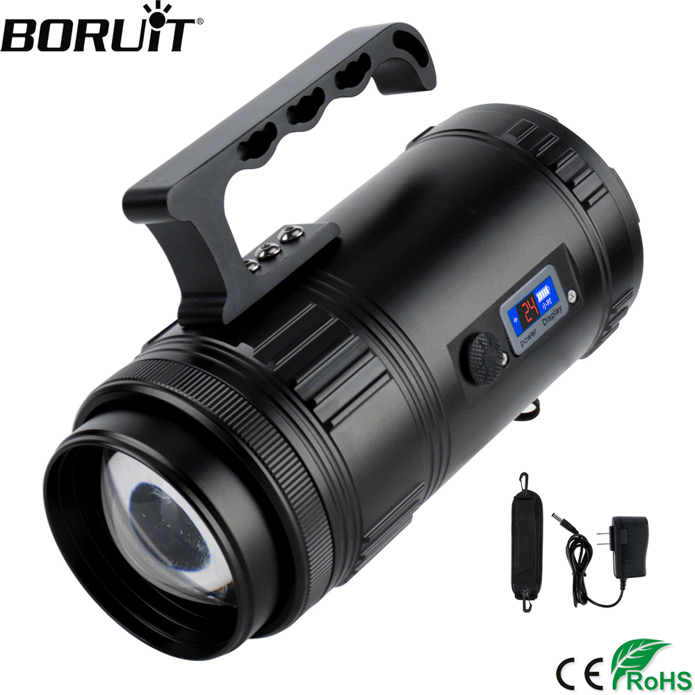 BORUiT 30W Super Bright Searchlight Rechargeable T6 XPE LED Portable Spotlight Outdoor Emergency Fishing Zoom Flashlight