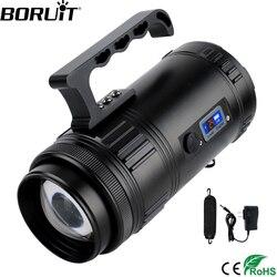 BORUiT 30W reflector súper brillante recargable T6 XPE foco LED portátil al aire libre de emergencia pesca Zoom linterna