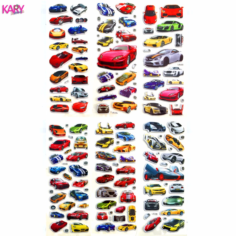 6 Sheets Racing Super Sports Car Scrapbooking Luggage Laptop Bubble Stickers Reward Kid Children Toys Factory Direct Sales