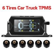 Carro rv caminhão tpms com 6 sensores externos sem fio digital lcd alarme sistema de monitoramento pressão dos pneus energia solar & carregamento usb