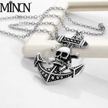 MINCN mens titanium steel necklace Japan and South Korea pirates Wang Hao anchor pendant hanging chain tide male