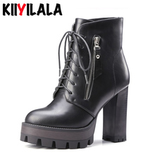 Kiiyilala Black Platform Boots Women Ankle Boots With Short Plush Side Zipper Lace-up Round Toe Autumn Winter Warm Fashion Boots
