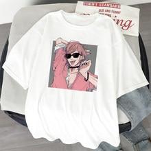 Camisetas femininas anime japonês yarichin b clube estética oversized camiseta com manga curta harajuku kawaii topos camisetas femininas