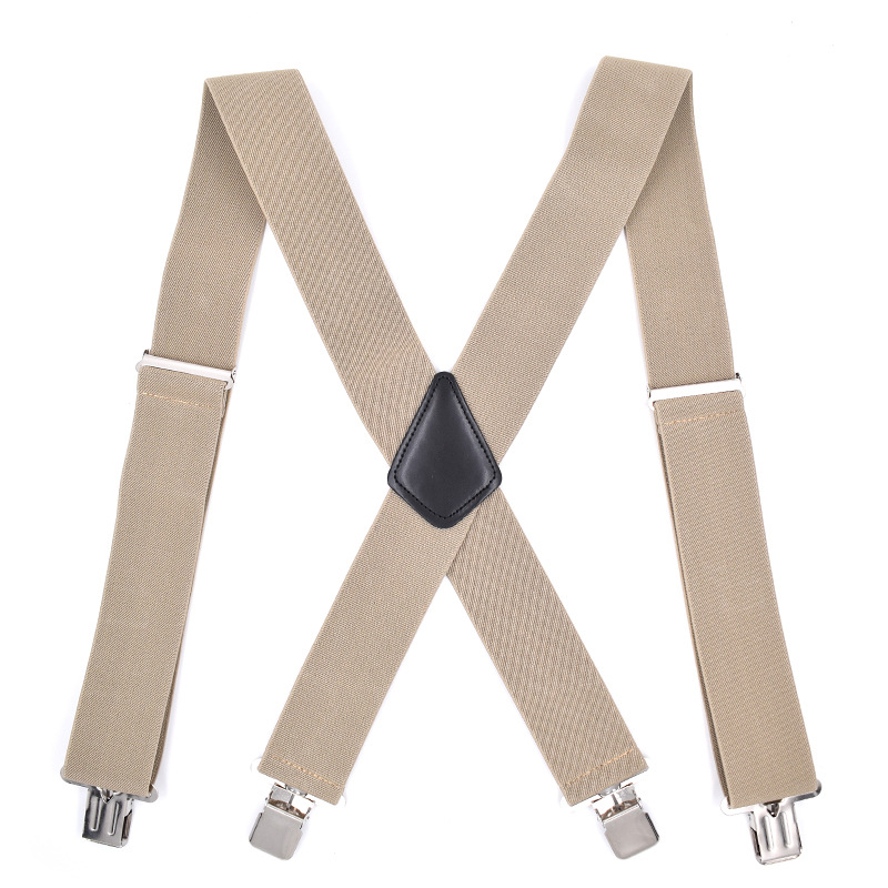 Cross Border Supply Of Goods 5 Centimeters Widened 4 Clip Men Suspender Strap Genuine Leather Plus-sized Only Suspenders 5CM 4 C