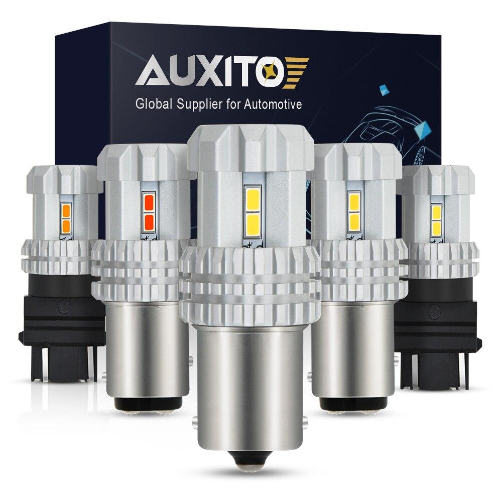 Автомобильные светодиодные лампы AUXITO, 3157 лм, P21W, W21, 5W, BA15S, P21/5W, 7443 PY21W, T20, 1156, W21W, 1157, DRL 7440, Bay15d, Красный Стоп светильник, белый, лампа, 12 В