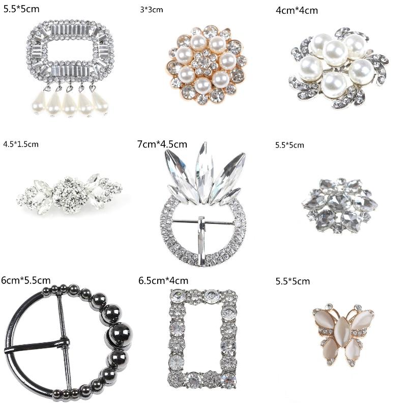 1/2PCS Crystal Shoe Clip Decoration Faux Pearl Shoe Clips Decorative Accessories Bridal Shoes Rhinestone Clip Buckle 30Styles