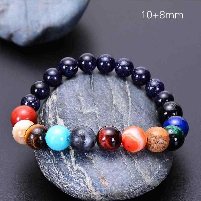 2019 osiem planet koralik bransoletka mężczyzn z kamienia naturalnego wszechświat joga słonecznego Chakra bransoletka dla kobiet mężczyzn biżuteria prezenty Drop Shipping