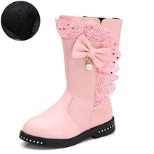 Winter Boots For Girls Shoes Leather Fashion Children Lace Bow Big Kids High Tube Little 3-14 Year