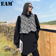 [EAM] Women Vintage Big Size Zebra Pattern Blouse New Lapel Long Sleeve Loose Fit Shirt Fashion Tide Spring Autumn 2021 1DD3780