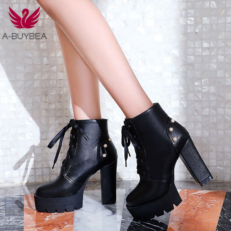 Warm Short Plush Platform Ankle Boots Women Lace Up Thick Heel Platform Boots Ladies Worker Boots Black High Heels Boots Shoes