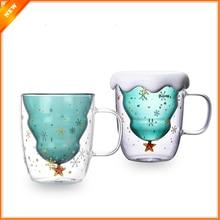 Креативная 3D прозрачная двойная антиобжигающая стеклянная Рождественская елка Звездная чашка кофейная чашка Молочный Сок чашка Детский Рождественский подарок