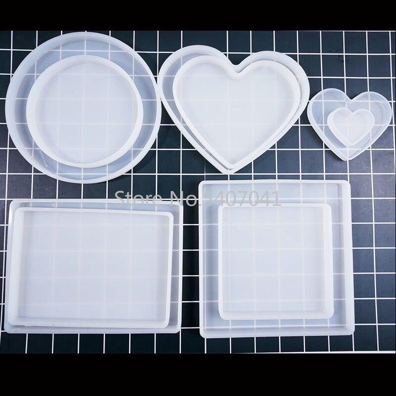 Популярный разный размер сердечка квадратная прямоугольная Базовая доска УФ Expoxy смола декоративные формы для изготовления ювелирных