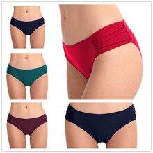 Women Swimwear Bikini Bottom Solid Short Ruched Swimsuit Briefs Plus Size Beach-