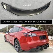 Спойлер из углеродного волокна для Tesla Model 3, 2019, 2020, 2021, 2022, крыло, выступ спойлеры, высокое качество, автомобильные аксессуары V