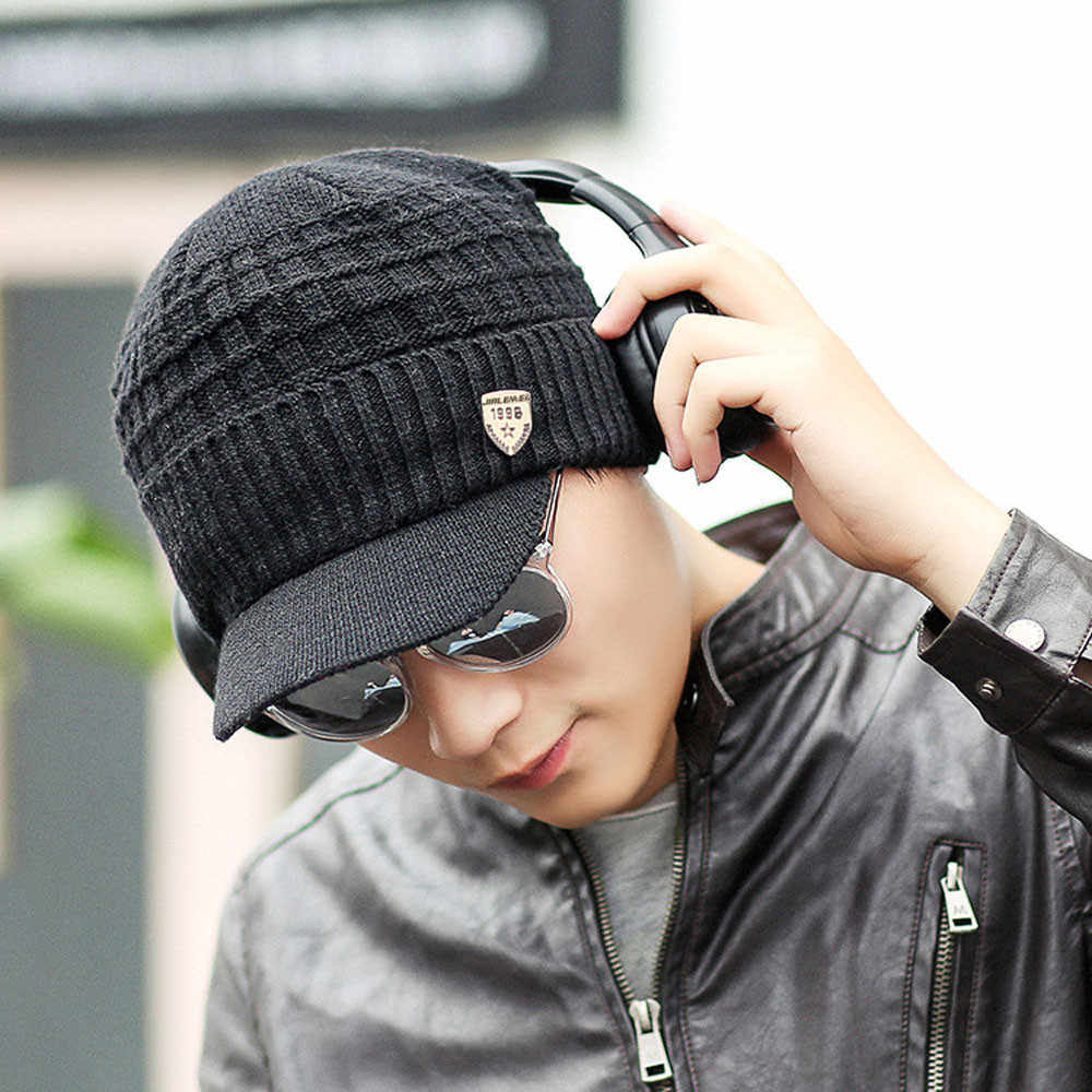 ผู้ชาย Baggy ถักโครเชต์ฤดูหนาวถักหมวก Beanie หมวกหมวก 6.7