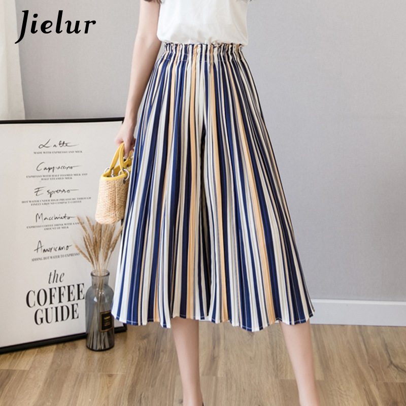 Jielur Fashion Pleated Chiffon Pants Female Summer Polka Dots Floral Striped Wide Leg Pants Women S-XL Loose Lady Pantalon Femme