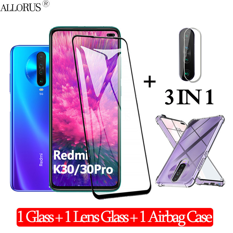 3-In-1 Стекло,Pelicula,Glass For Xiaomi-Redmi-K30 Airbag Case Redmi K30 Pro Note8t Xiomi Armor Back Cover Redmi K30 K 30 5G Case