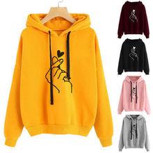 Women Sweatshirt And Hoody Ladies Hooded Love Printed Casual Pullovers Girls Lon