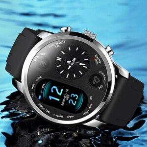Image 5 - LEMFO Smart Uhr Business Männer Dual Time Zone Display Herz Rate Monitor Fitness Tracker Wasserdichte Uhr Für Android IOS
