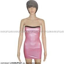 Металлик розовый и черный сексуальный без бретелек латексное
