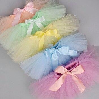 Юбка-пачка для новорожденных девочек и повязка на голову, комплект для новорожденных, реквизит для фотосессии, пышная фатиновая юбка для малышей, комплект для 0-12 месяцев, 18 цветов на выбор