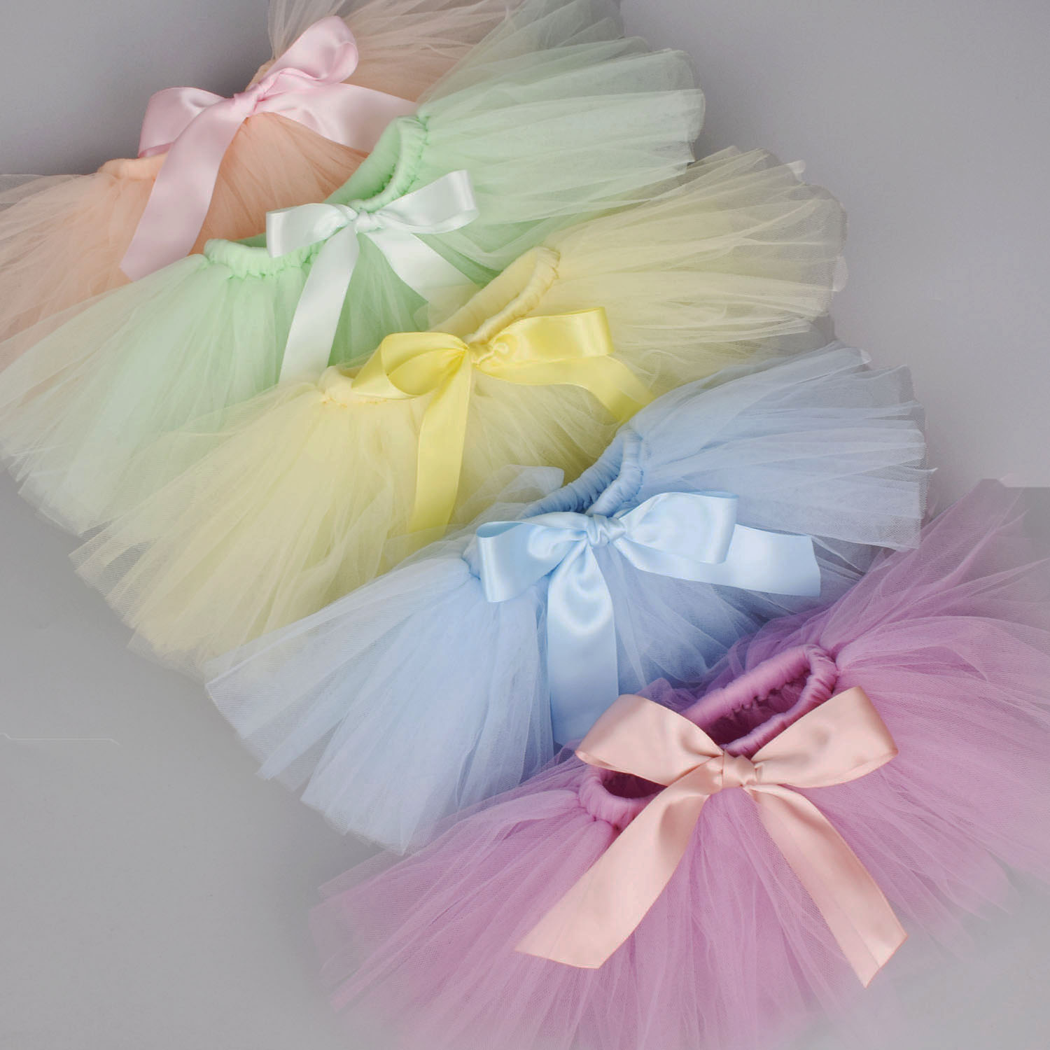 Newborn Baby Girls Tutu Skirt & Headband Set Newborn Photography Props Infant Fluffy Baby Tulle Skirt Set 0-12M 18 Color Options