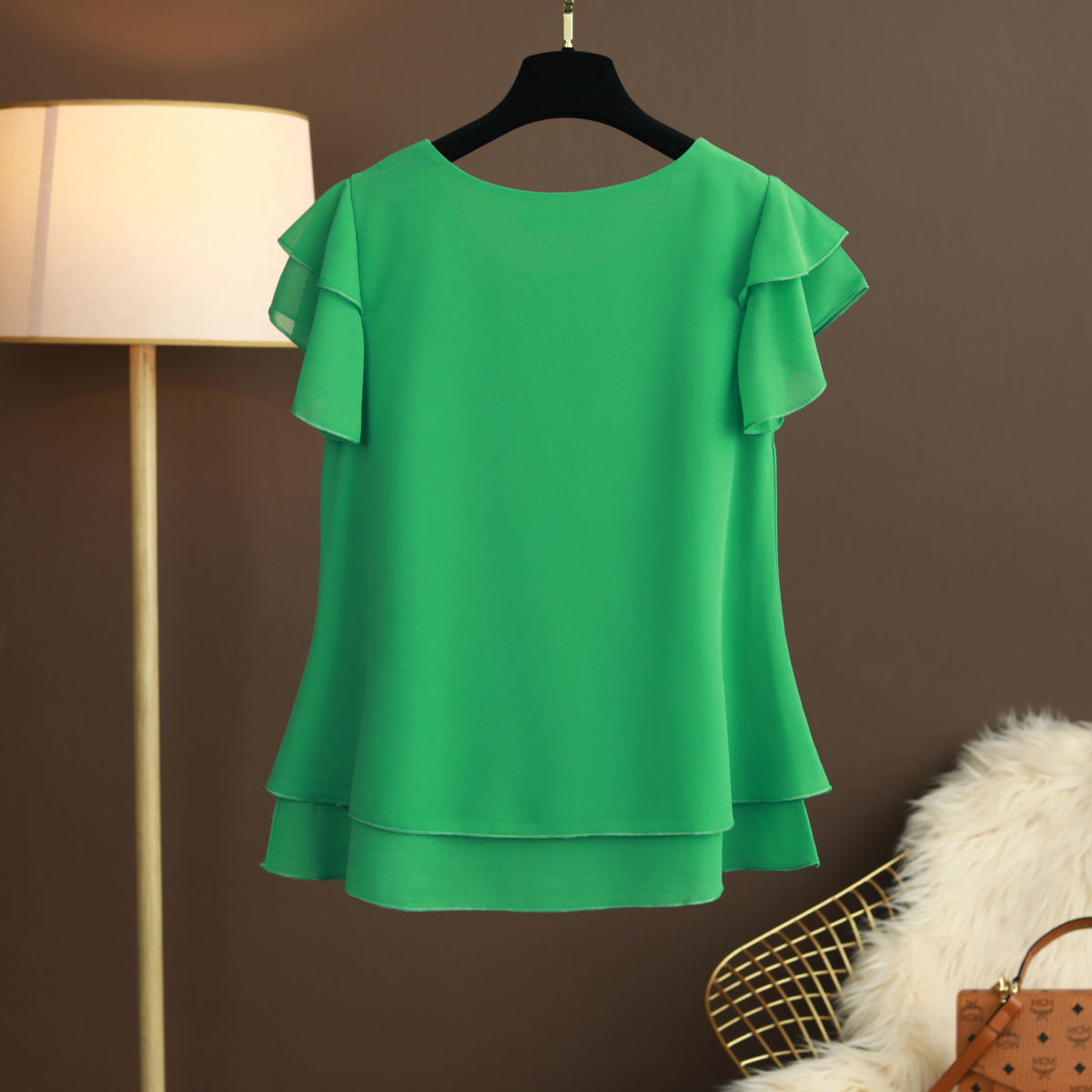 New Summer Women Blouse Loose O-Neck Chiffon Shirt Female Short Sleeve Blouse Plus Size 6XL Shirts womens tops and blouses Top