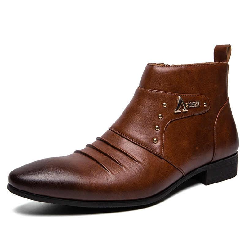 2019 Lederen Laarzen Mannen Hoge Mannen Enkellaarsjes Britse Mode Mannen Chelsea Laarzen Mode Stijl Mannen Schoenen