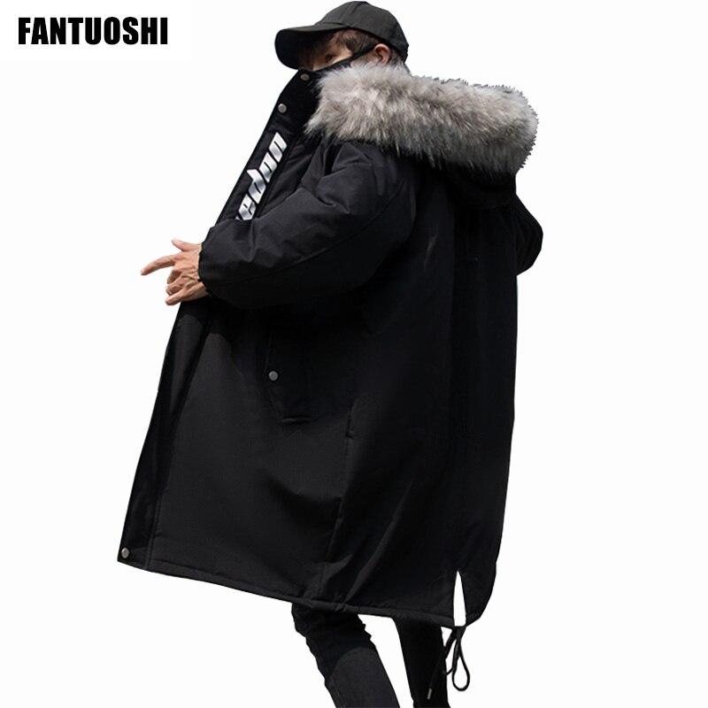 Мужская приталенная куртка с капюшоном, черная длинная теплая хлопковая куртка с длинным рукавом и принтом, зима 2019